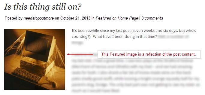 Featured Images reflect the content of the post.