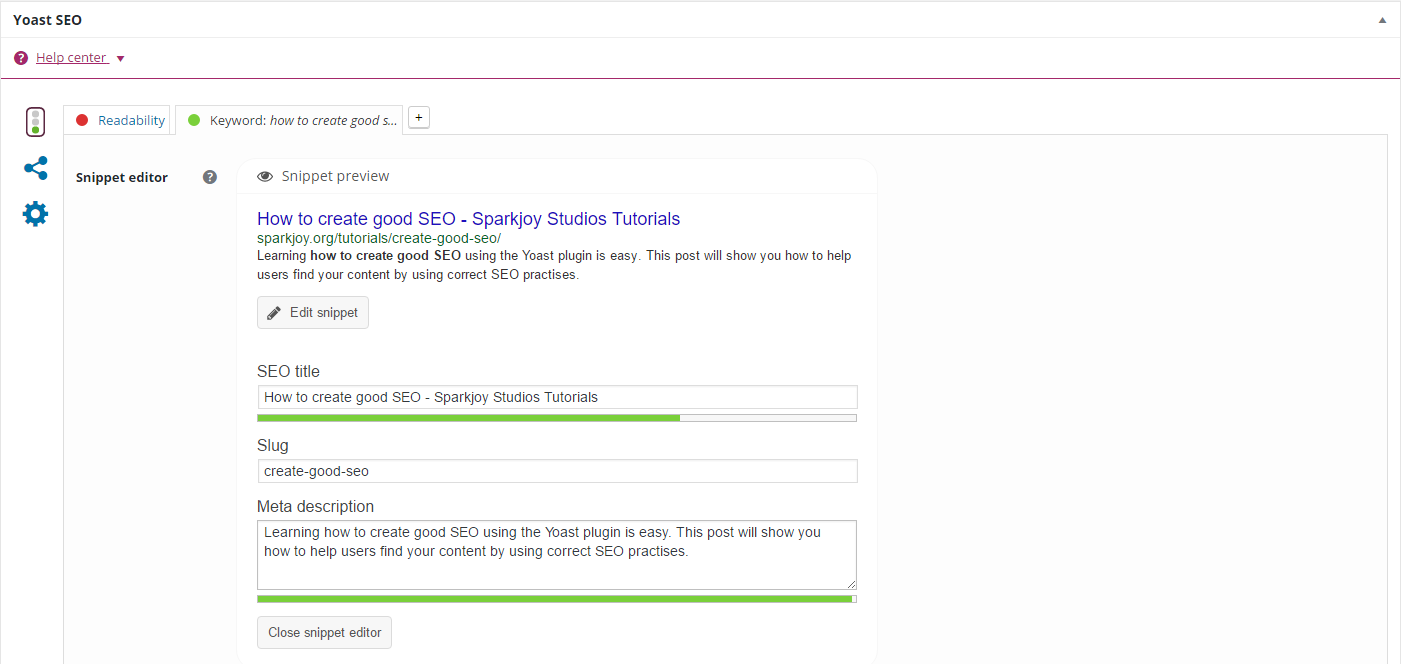 screenshot of completed SEO Title and Meta Description
