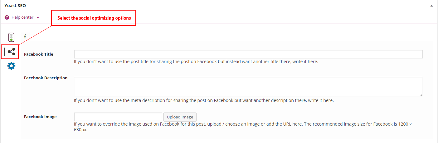 screenshot of the social optimization options in the yoast widget