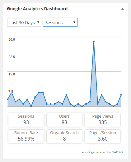 screenshot of google analytics widget